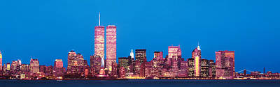Twin Towers Photograph - Evening Lower Manhattan New York Ny by Panoramic Images