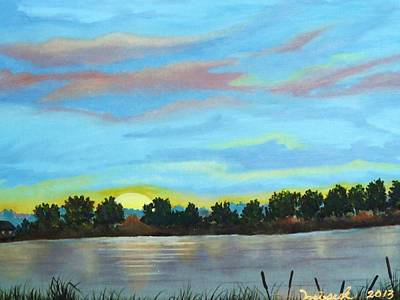 Pause Painting - Evening On Ema River by Misuk Jenkins