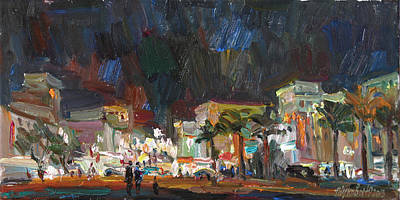 Night Lamp Painting - Evening On The Square by Juliya Zhukova