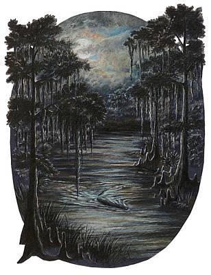Moonlit Night Drawing - Gator Evening Patrol by Peter E Malbrough