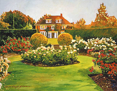 Architectural Painting - Evening Rose Garden by David Lloyd Glover