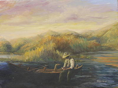 Drift Boat Painting - Evening Selection by Steve Haigh