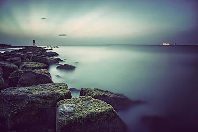 Galveston Photograph - Evening Stillness Green by Thomas Zimmerman