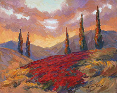 Sunset Painting - Evening Sunset In Tuscany by Diane McClary