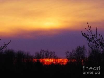 Evening Sunset Lake Print by Judy Via-Wolff