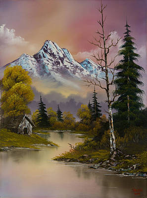 Sawtooth Mountain Art Painting - Evening's Delight by C Steele