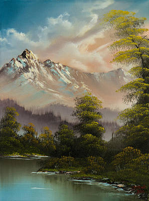 Sawtooth Mountain Art Painting - Evenings Glow by C Steele