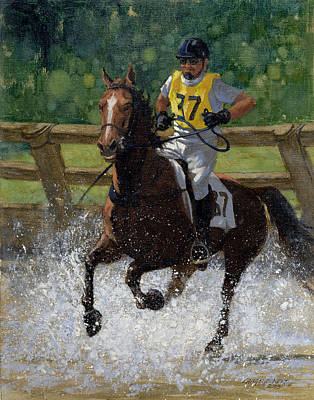 Eventing Painting - Eventing Horse by Don  Langeneckert
