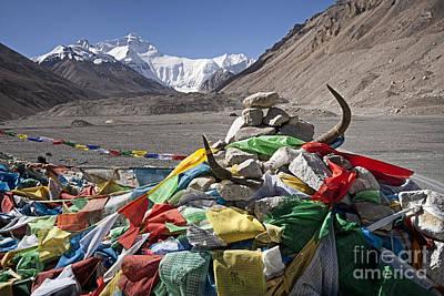 Nepal Photograph - Everest And Prayer Flags by Hitendra SINKAR