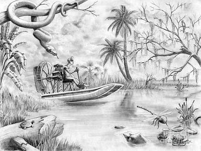 Alligator Drawing - Everglades Florida by Murphy Elliott