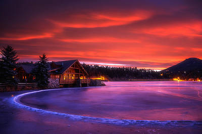 Evergreen Lake Sunrise Print by Darren  White