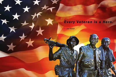 Stars And Stripes Mixed Media - Every Veteran A Hero by Daniel Hagerman