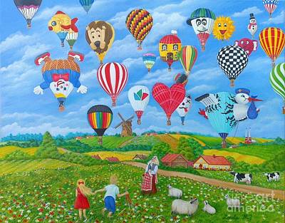 Balloon Fiesta Painting - Everybody Wanna Fly by Loreta Mickiene