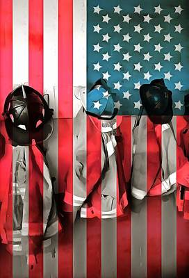 Usa Flag Mixed Media - Everyday Heroes by Dan Sproul