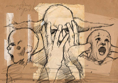 Anger Drawing - Everything Falls Apart by H James Hoff