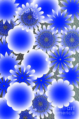 Every Blue Snowflakes Print by Tina M Wenger