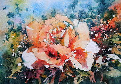 Watercolour Painting - Everythings Peachy . . . Peach Rose by Stephie Butler