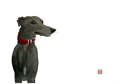 Dog Drawing - Evie by Richard Williamson