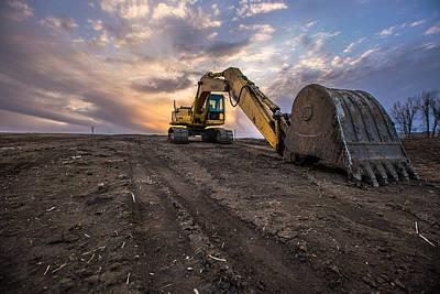 Excavator Print by Aaron J Groen