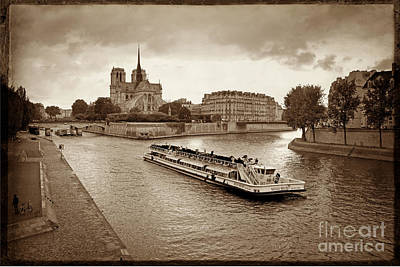 Excursion Boat On The Seine.paris Print by Bernard Jaubert