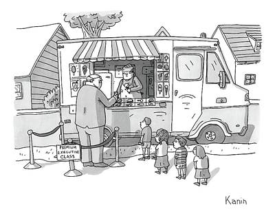Airlines Drawing - Exec Cuts Children In Line For Ice Cream by Zachary Kanin