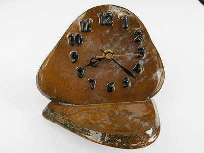 Executive Desk Clock In Gold Moss Agate Natural Stone Tos3411 Print by W Bruce Watts