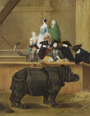 Pietro Longhi Painting - Exhibition Of A Rhinoceros At Venice by Pietro Longhi