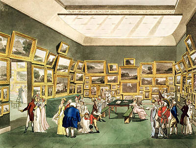 Exhibition Of Watercoloured Drawings Print by T. & Pugin, A.C. Rowlandson