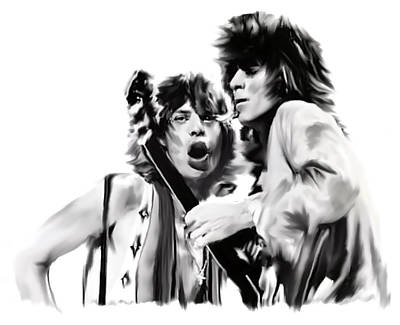 Keith Richards Drawing - Exile II Mick Jagger And Keith Richards by Iconic Images Art Gallery David Pucciarelli