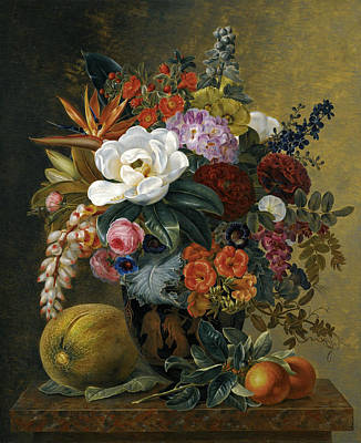 Johan Laurentz Jensen Painting - Exotic Blooms In A Grecian Krater With Fruit On A Marble Ledge by Johan Laurentz Jensen
