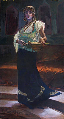 Restore Painting - Exotic Woman by Edouard Richter