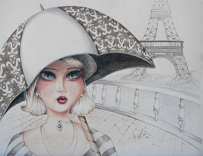 Eiffel Tower Drawing - Expecting Rain by Abigail Kraft