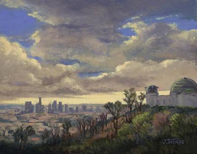 Los Angeles Skyline Painting - Expecting Rain by Jane Thorpe