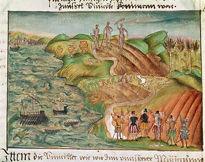 Expedition Lands In Venezuela Print by British Library