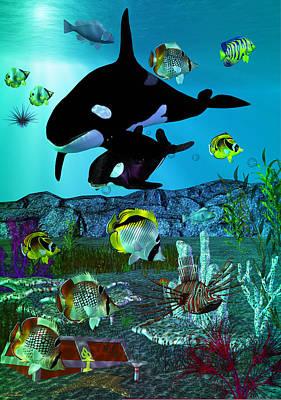 Orca Digital Art - Exploration 3d Aquarium Orca by Sharon and Renee Lozen