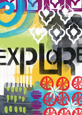 Explore- Contemporary Abstract Art Print by Linda Woods