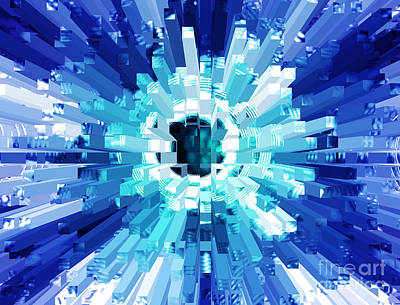 Extrusion Photograph - Explosion Abstract Blue Turquoise by Natalie Kinnear