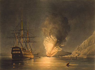 Explosion Of The Uss Steam Frigate Missouri Print by War Is Hell Store