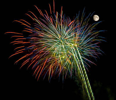 Explosions Of Color - Fireworks And Moon Print by Penny Lisowski
