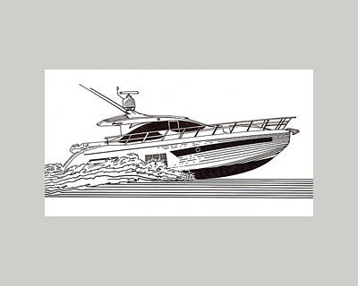 Watersports Drawing - Express Sport Yacht by Jack Pumphrey