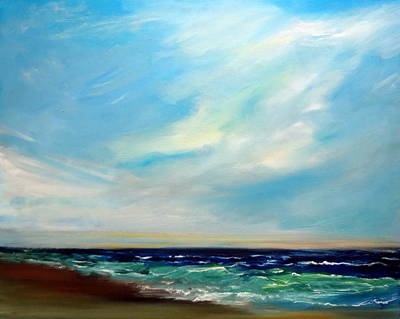 Beach Painting - Expression Beach Seascape Ocean Expresionism by Katy Hawk