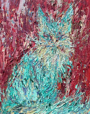 Cat Images Painting - Expressionist Cat Oil Painting.3 by Fabrizio Cassetta