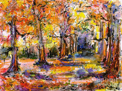 Expressive Enchanted Autumn Forest Print by Ginette Callaway