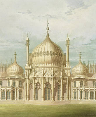 The Royal Family Painting - Exterior Of The Saloon From Views Of The Royal Pavilion by John Nash