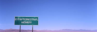 Extraterrestrial Photograph - Extraterrestrial Highway Sign, Area 51 by Panoramic Images