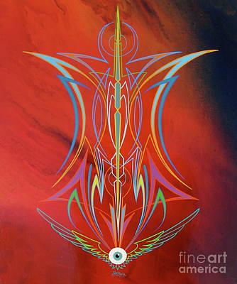Pinstripes Painting - Eye Flying by Alan Johnson