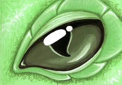 Dragon Painting - Eye Of The Mint Green Dragon Hatchling by Elaina  Wagner