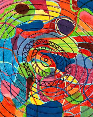 Abstract Movement Mixed Media - Eye Of The Tiger by Lesa Weller