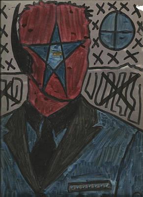 Banksy Drawing - Eye Star In Center Man by Edward X