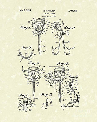 Eyelash Drawing - Eyelash Curler 1955 Patent Art by Prior Art Design